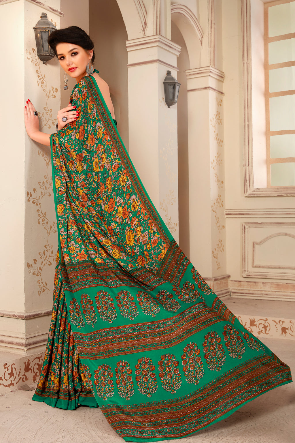 Green Color Crepe  Kitty Party Sarees NYF-8054