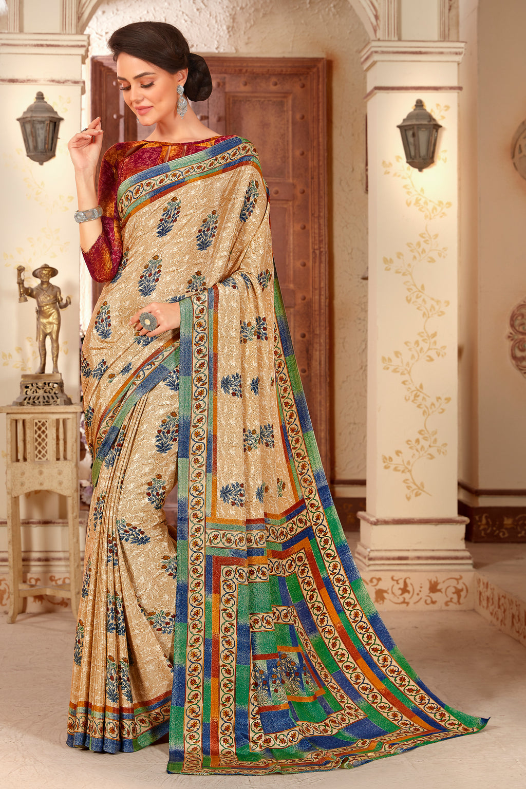 Beige Color Crepe  Kitty Party Sarees NYF-8056