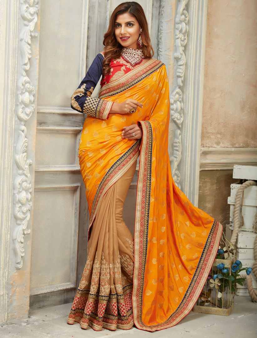Yellow & Light Coffee Color Crepe Silk Designer Festive Sarees : Raviya Collection  NYF-2930 - YellowFashion.in