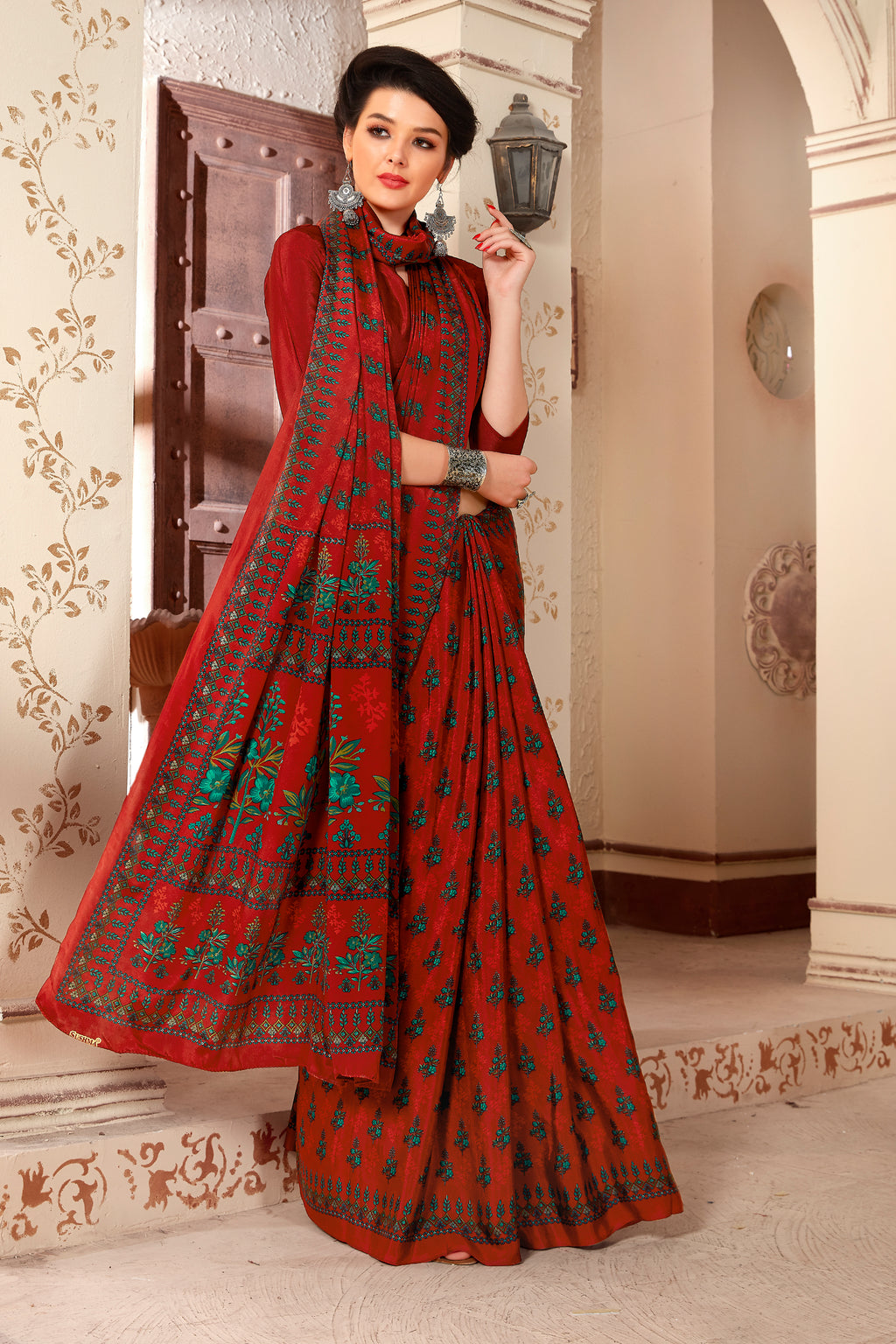 Red Color Crepe  Kitty Party Sarees NYF-8057