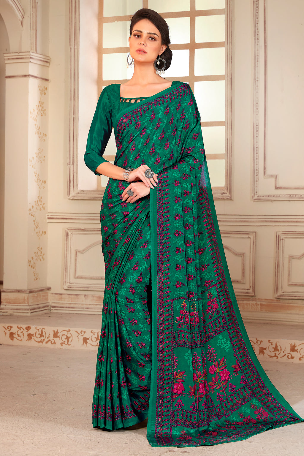 Green Color Crepe  Kitty Party Sarees NYF-8058