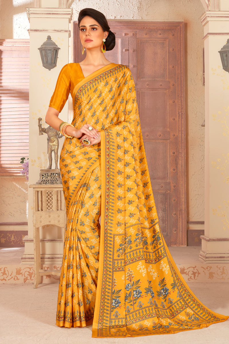 Yellow Color Crepe  Kitty Party Sarees NYF-8059
