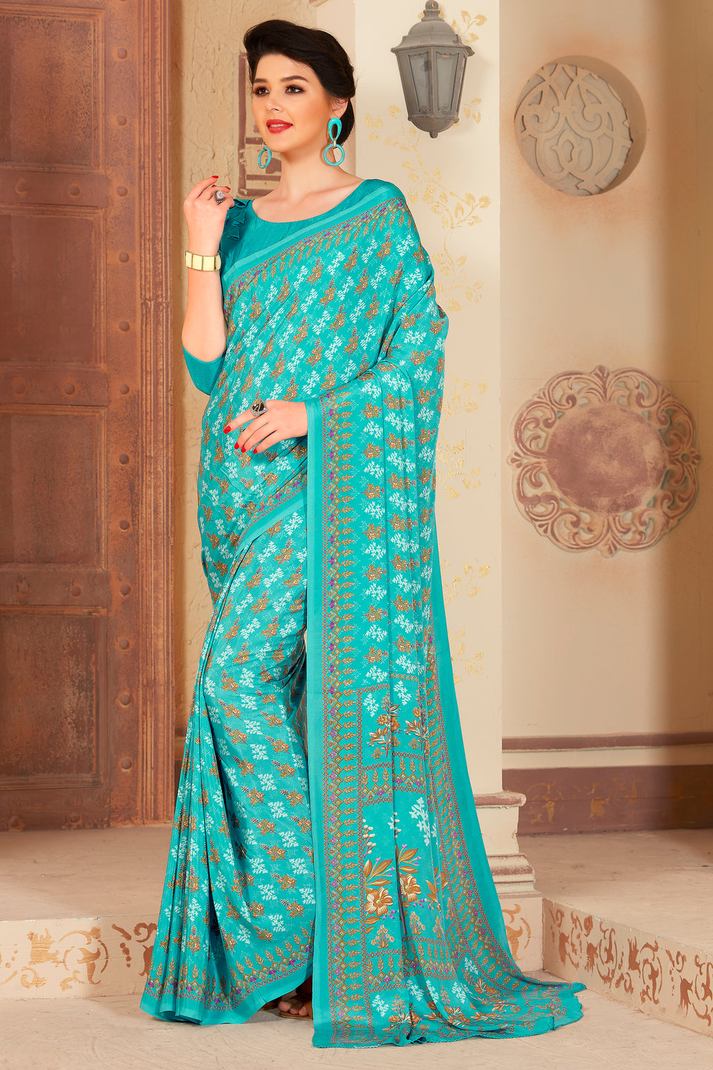 Aqua Blue Color Crepe  Kitty Party Sarees NYF-8060