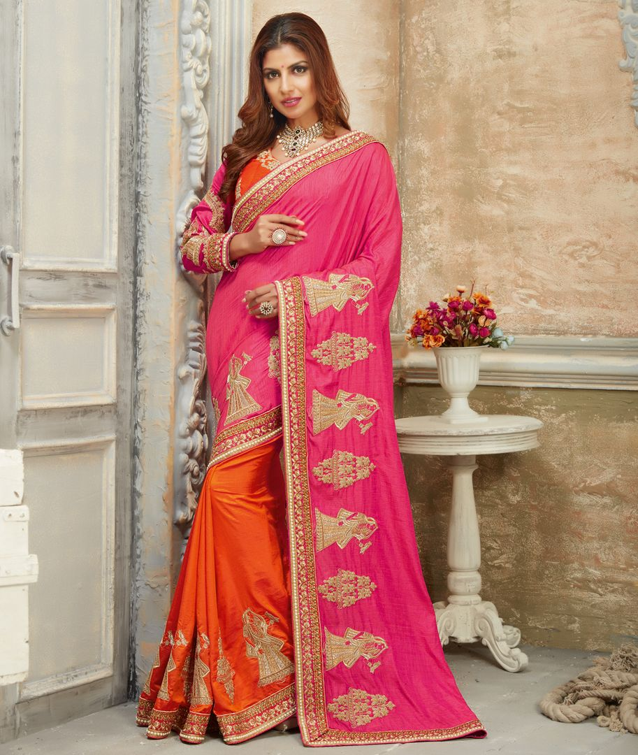 Pink & Orange Color Crepe Silk Designer Festive Sarees : Raviya Collection  NYF-2931 - YellowFashion.in