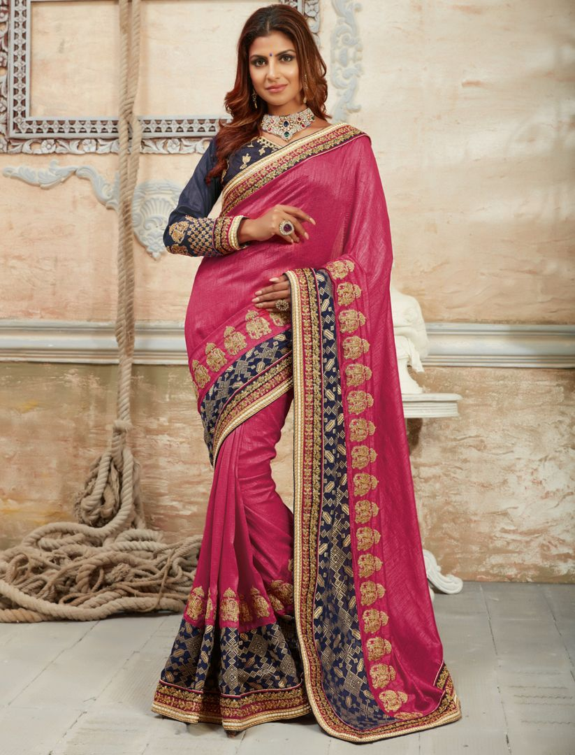 Pink Color Crepe Silk Designer Festive Sarees : Raviya Collection  NYF-2933 - YellowFashion.in