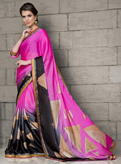 Pink & Black Color Wrinkle Chiffon Party Wear Sarees :  Anupama Collection  YF-42849