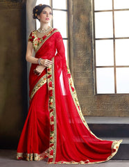 Red Color Georgette Festival & Function Wear Sarees : Reema Collection (Includes Two Blouses)  YF-37741
