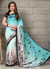 Aqua Blue & Black Color Georgette Party Wear Sarees :  Anupama Collection  YF-42852