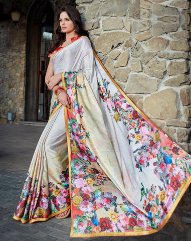 Multi Color Satin Designer Party Wear Sarees : Shraddha Collection YF-61575