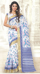 White and Blue Color Cotton  Casual Wear Sarees : Sugandha Collection  YF-37566