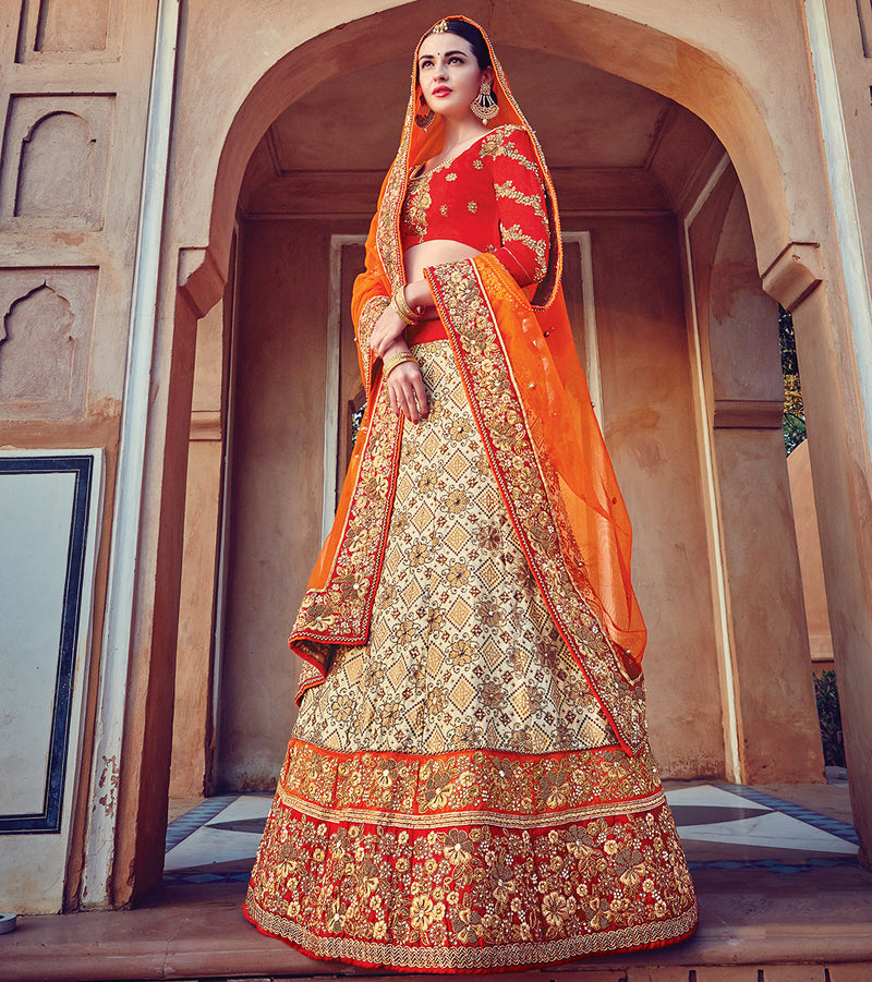 Cream & Red Color Art Silk Traditional Bridal Wear Lehenga Saree NYF-5732