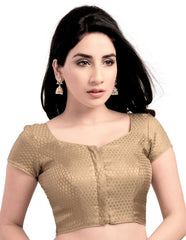 Gold Color Brocade Readymade Party Wear Blouses (32,34,36,38,40,42): Safeena Collection  YF-51009