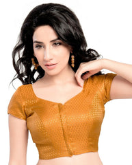 Mustard Color Brocade Readymade Party Wear Blouses (32,34,36,38,40,42): Safeena Collection  YF-51015