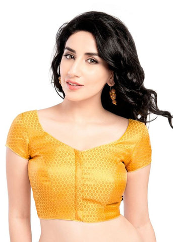 yellow Color Brocade Readymade Function Wear Blouses ( Sizes - 32, 34, 36, 38, 40, 42 ): Samita Collection  YF-38532