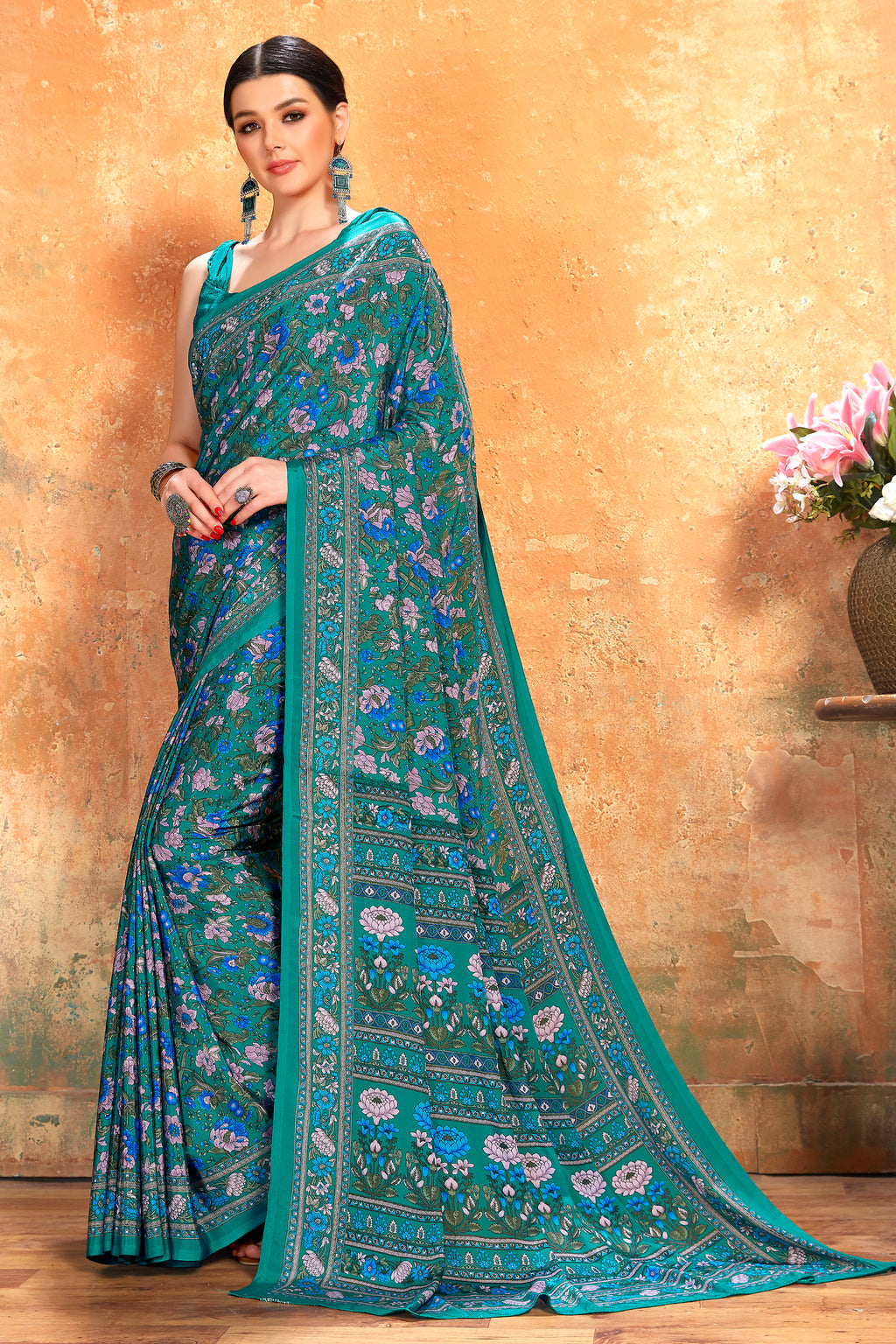 Rama Blue Color Crepe  Kitty Party Sarees NYF-8062