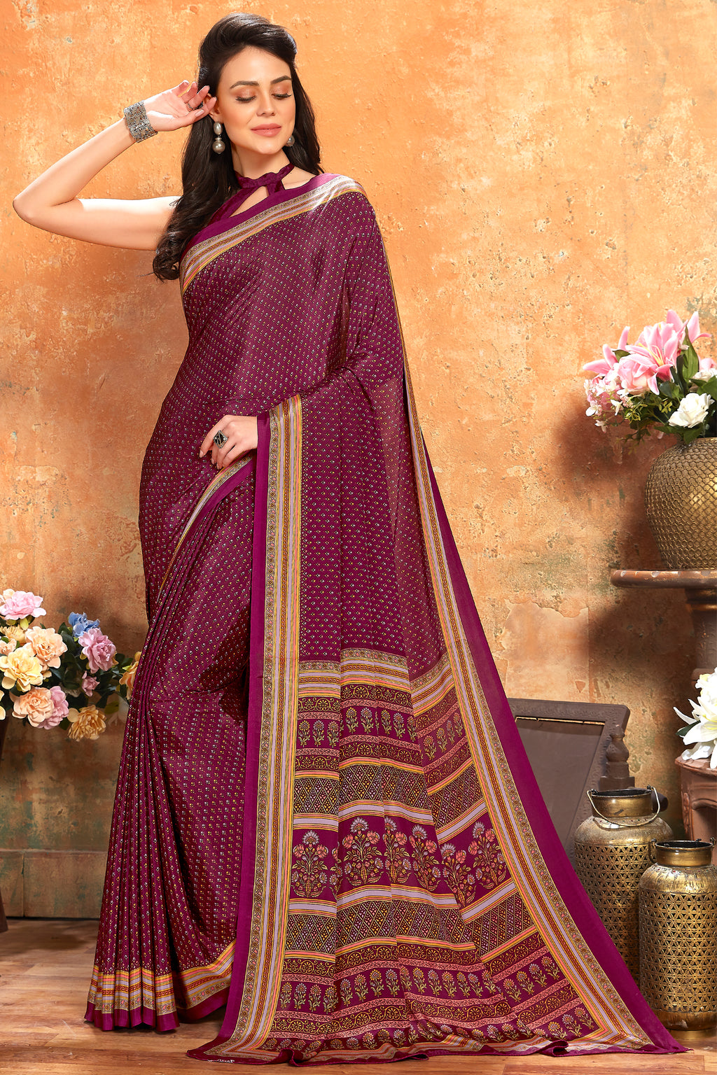 Magenta Color Crepe  Kitty Party Sarees NYF-8065