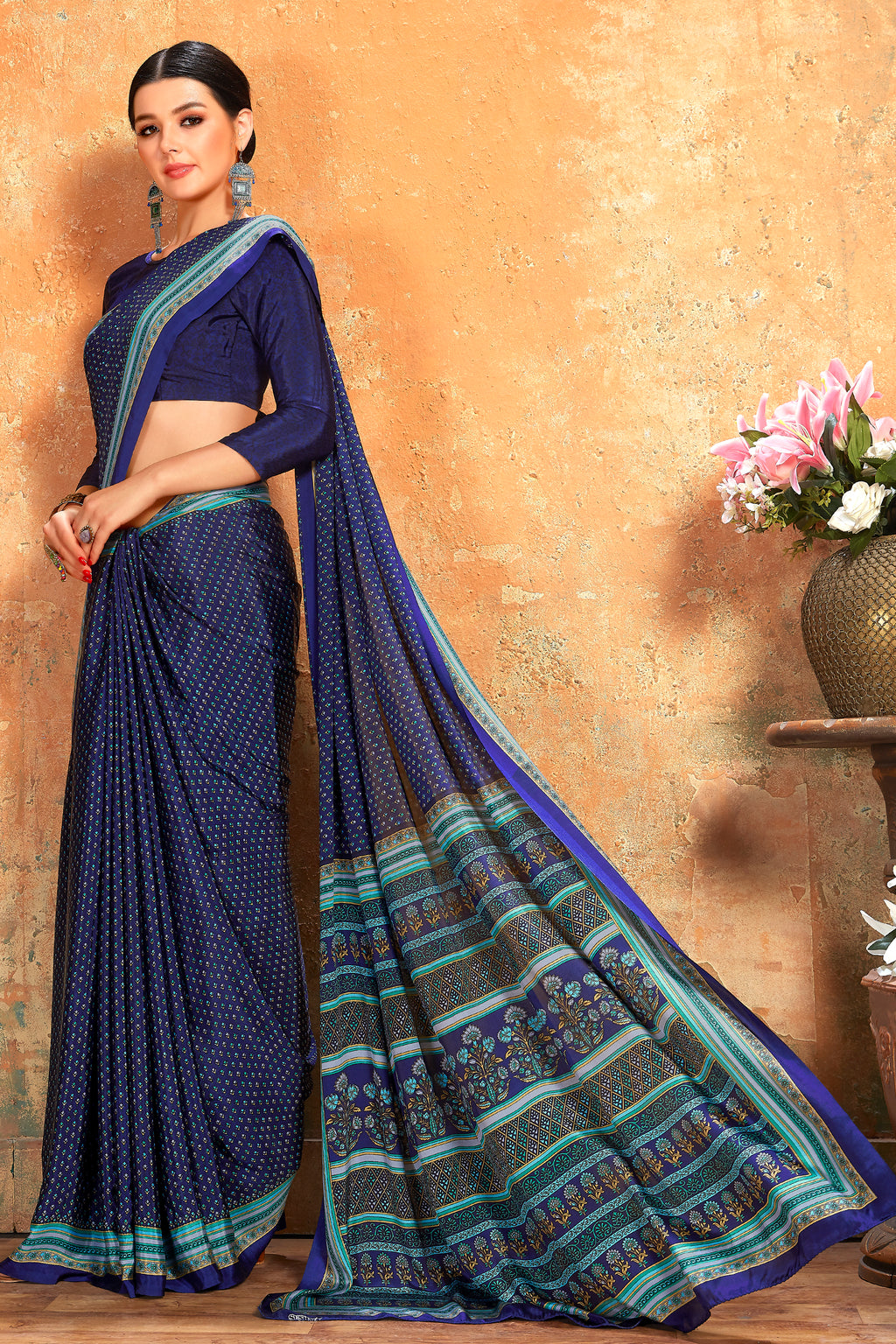 Blue Color Crepe  Kitty Party Sarees NYF-8066