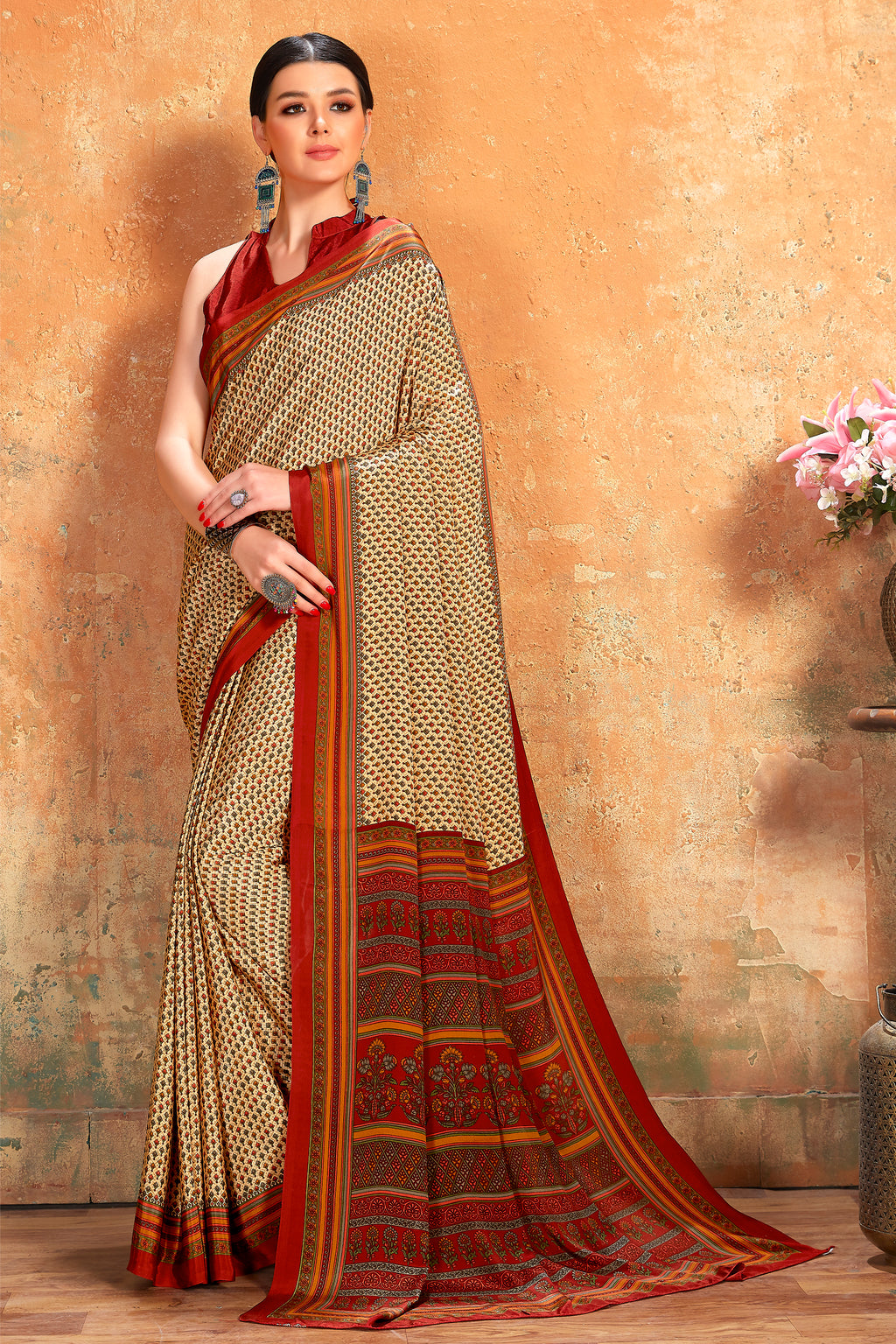 Cream Color Crepe  Kitty Party Sarees NYF-8067
