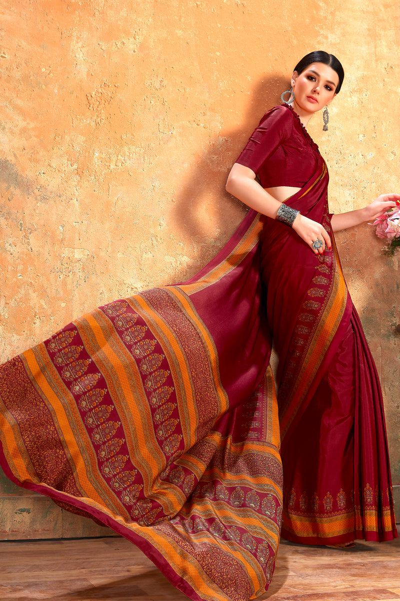 Maroon Color Crepe  Kitty Party Sarees NYF-8069