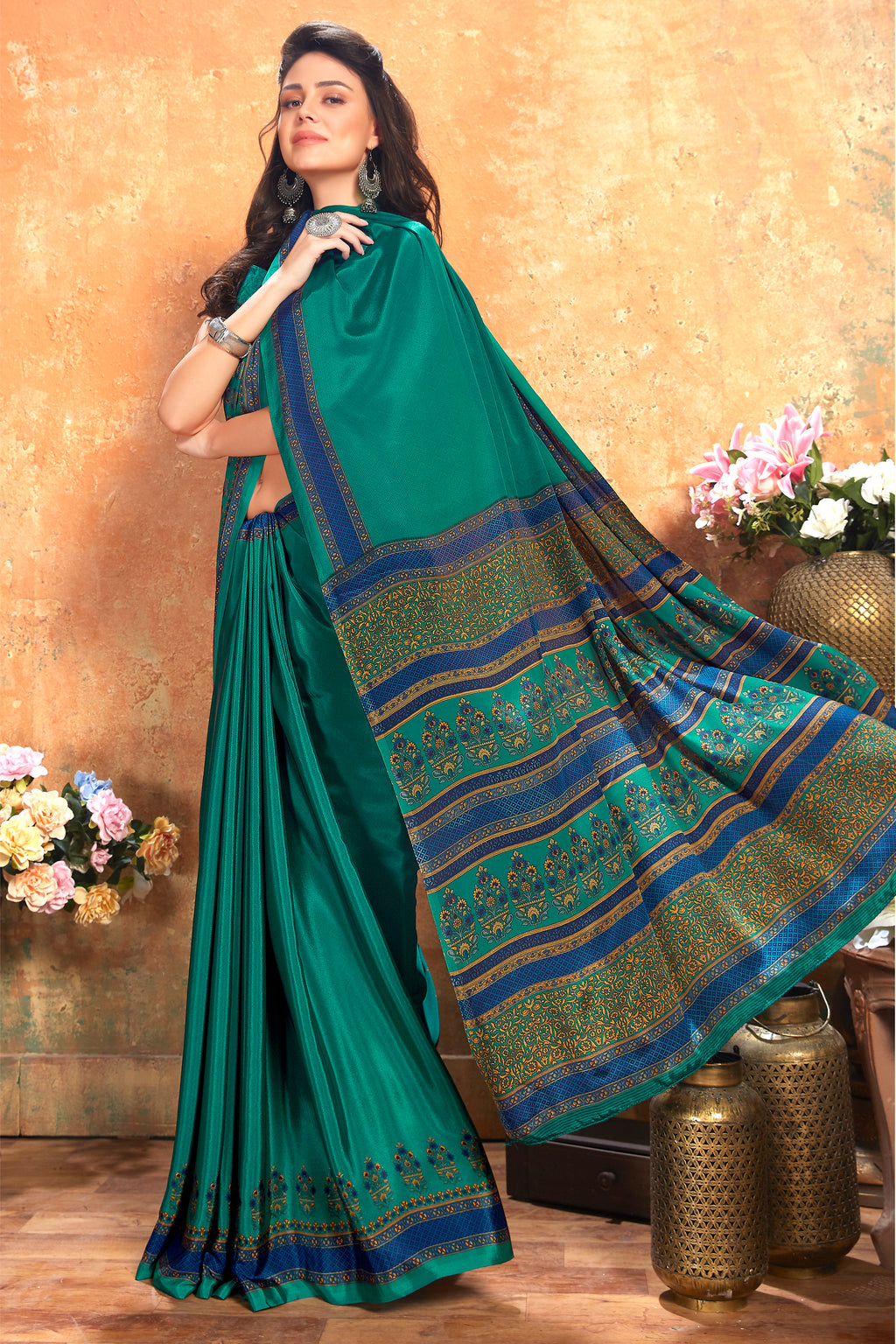 Rama Green Color Crepe  Kitty Party Sarees NYF-8070