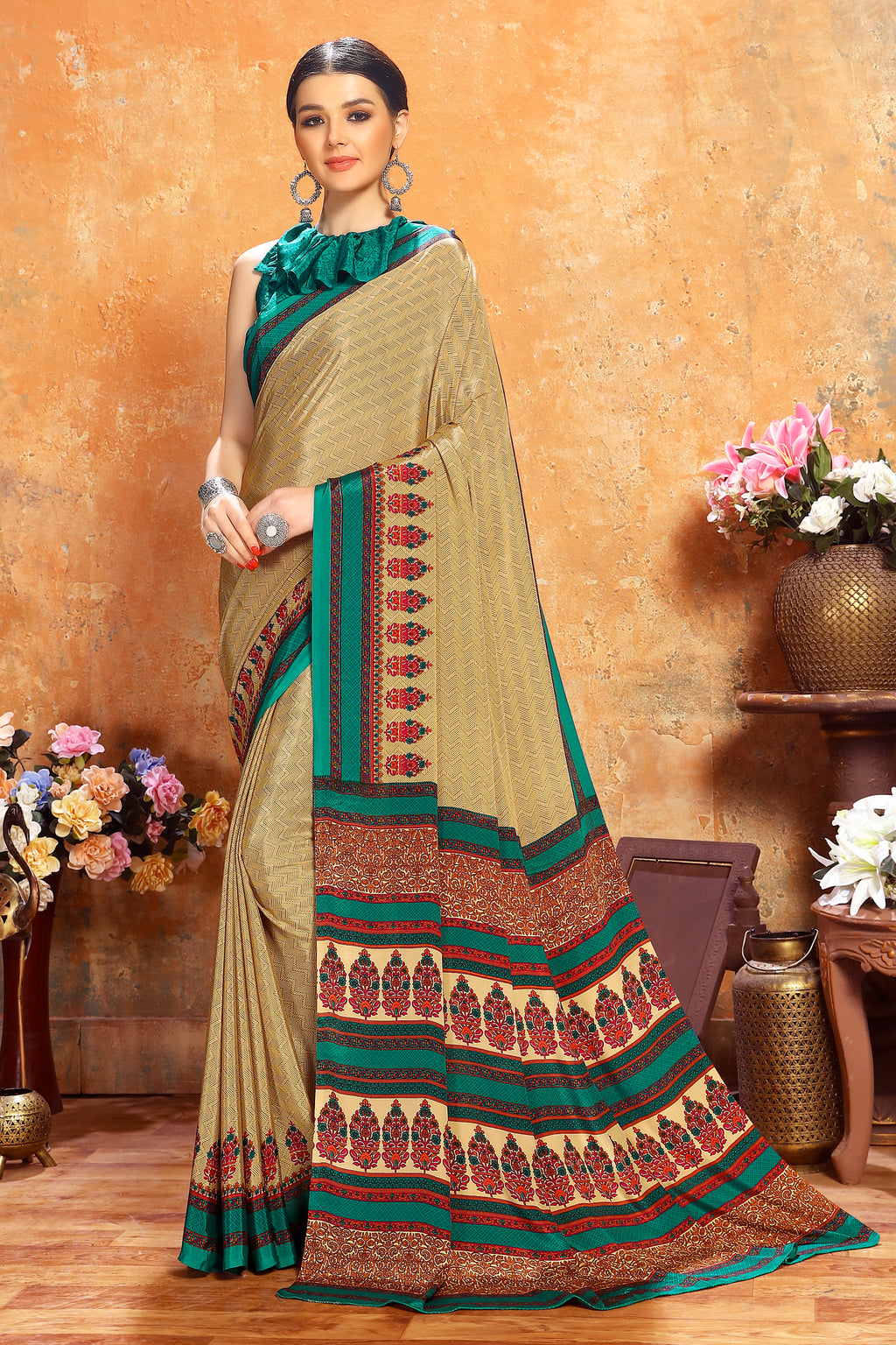 Beige Color Crepe  Kitty Party Sarees NYF-8071