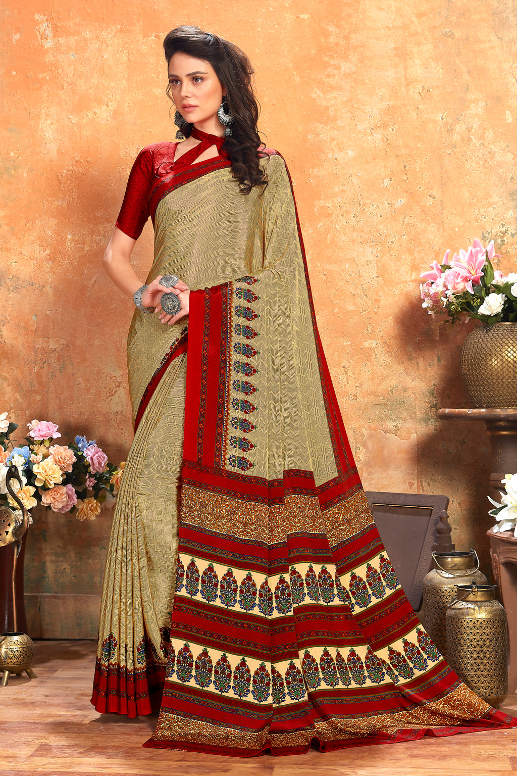 Beige Color Crepe  Kitty Party Sarees NYF-8072