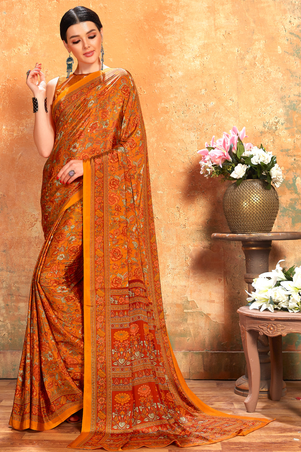 Mustard Yellow Color Crepe  Kitty Party Sarees NYF-8073