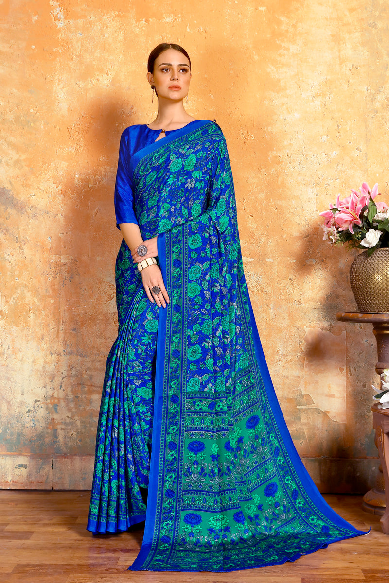 Ink Blue Color Crepe  Kitty Party Sarees NYF-8074