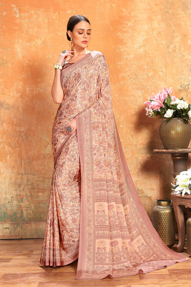 Dusty Pink Color Crepe  Kitty Party Sarees NYF-8075