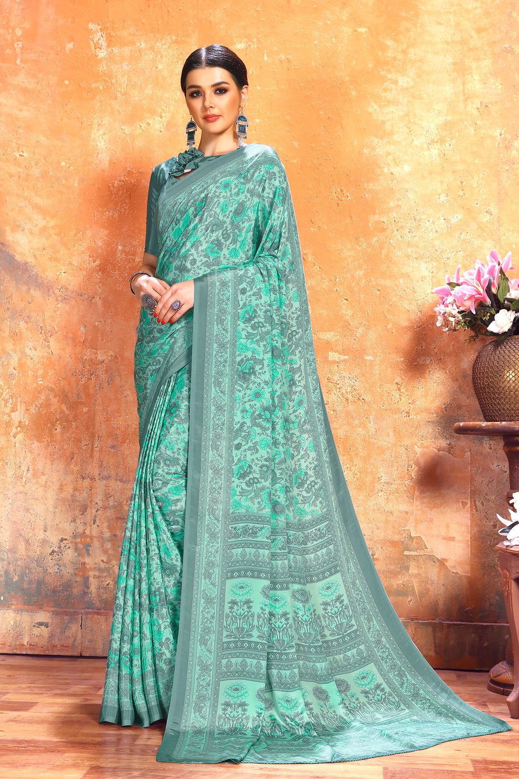 Light Aqua Green Color Crepe  Kitty Party Sarees NYF-8076