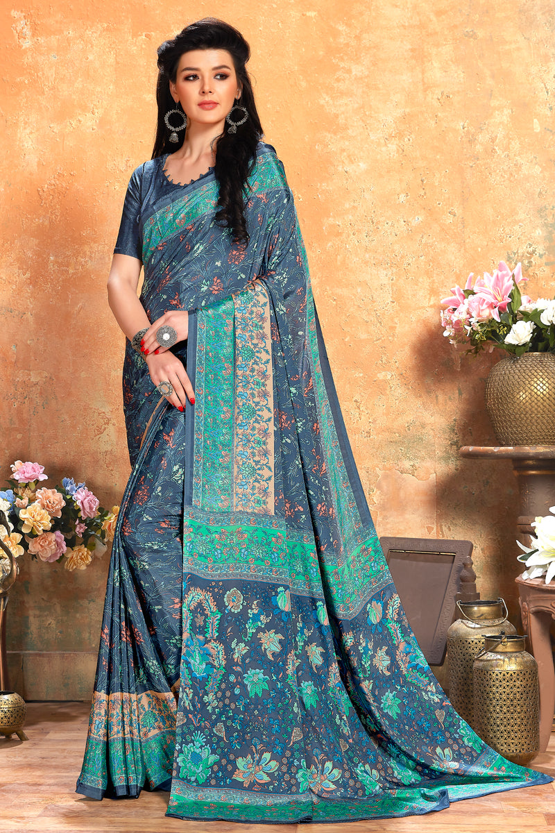 Grey Color Crepe  Kitty Party Sarees NYF-8078