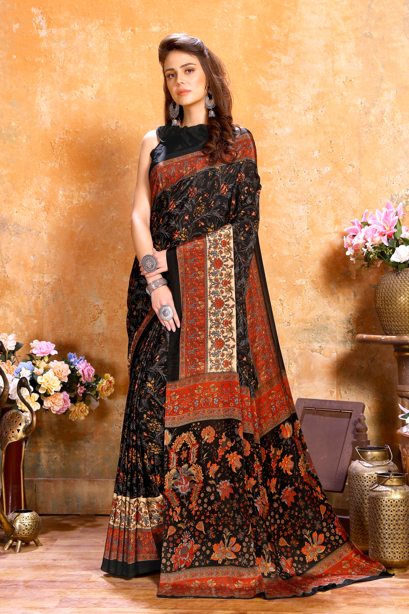 Black Color Crepe  Kitty Party Sarees NYF-8079