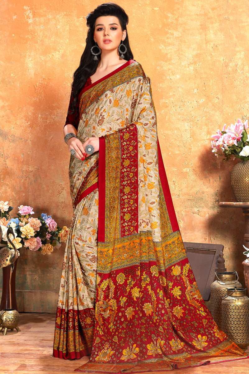Multi Color Crepe  Kitty Party Sarees NYF-8080