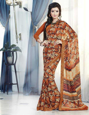 Orange Color Georgette Casual Wear Sarees : Tisha Collection  YF-29761