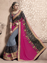 Pink & Grey Color Georgette Party Wear Sarees : Sarila Collection  YF-40418