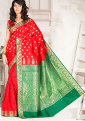 Red & Green Color Art Silk Casual Wear Sarees : Dhir Collection  YF-31533