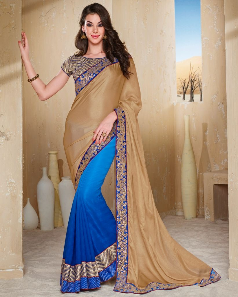 Golden & Blue Color Half Wrinkle Chiffon & Half Lycra Designer Festive Sarees : Jugni Collection  NYF-1549 - YellowFashion.in