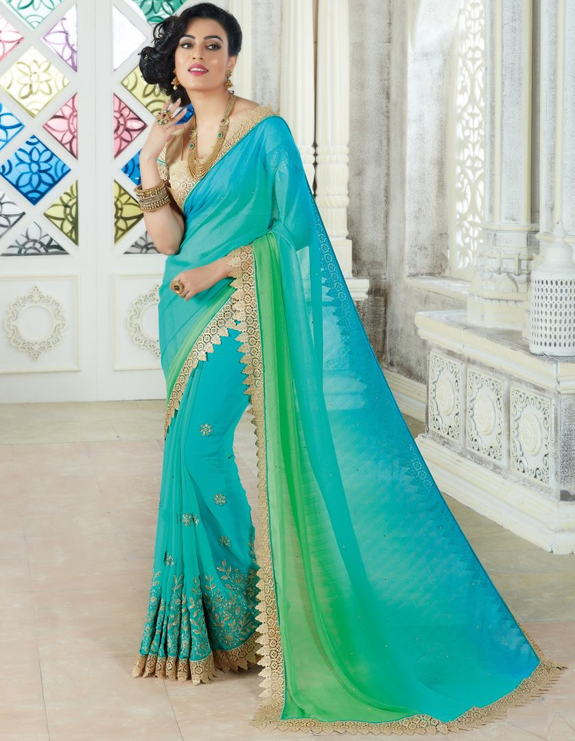 Aqua Blue & Green Color Chiffon Party Wear Sarees : Pinati Collection  NYF-3323 - YellowFashion.in