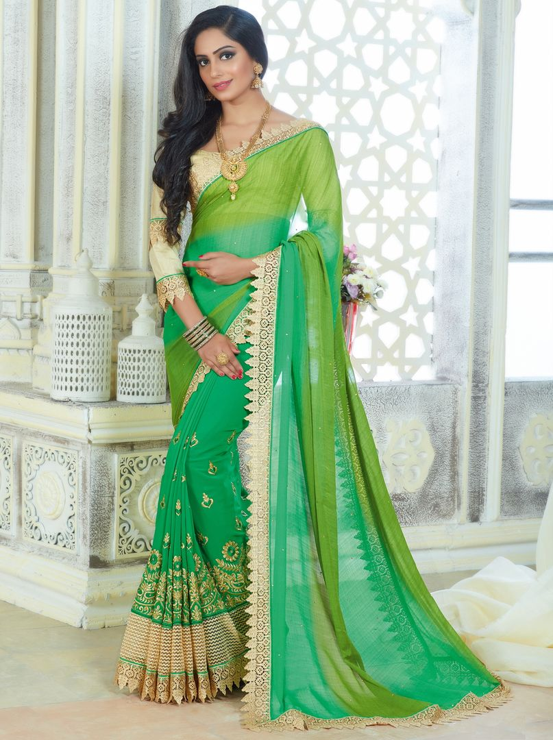 Light & Dark Green Color Chiffon Party Wear Sarees : Pinati Collection  NYF-3324 - YellowFashion.in