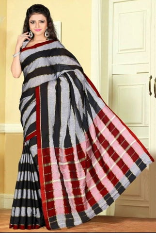Black, Grey & Red Color Cotton Casual Wear Sarees : Dhir Collection  YF-31534