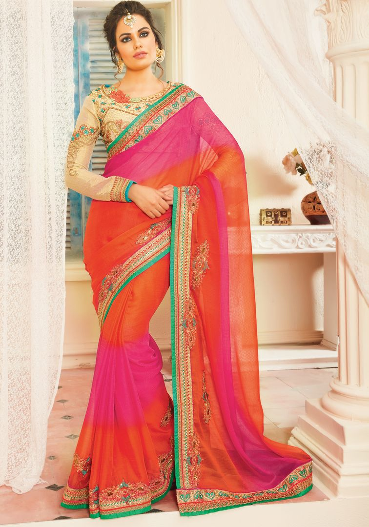 Pink & Orange Color Chiffon Designer Embroidered Sarees : Avnira Collection  NYF-2893 - YellowFashion.in