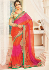 Pink & Orange Color Chiffon Designer Embroidered Sarees : Avnira Collection  NYF-2893