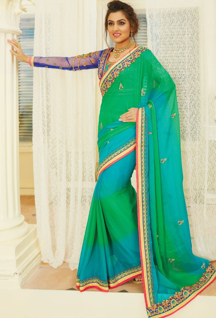 Green & Aqua Blue Color Chiffon Designer Embroidered Sarees : Avnira Collection  NYF-2894 - YellowFashion.in