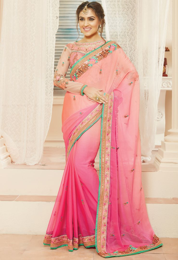 Peach & Pink Color Chiffon Designer Embroidered Sarees : Avnira Collection  NYF-2895 - YellowFashion.in