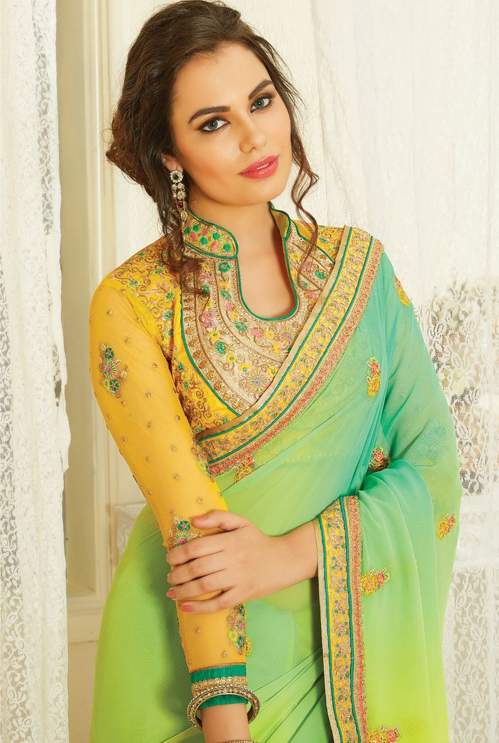 Yellow & Sea Green Color Chiffon Designer Embroidered Sarees : Avnira Collection  NYF-2896 - YellowFashion.in