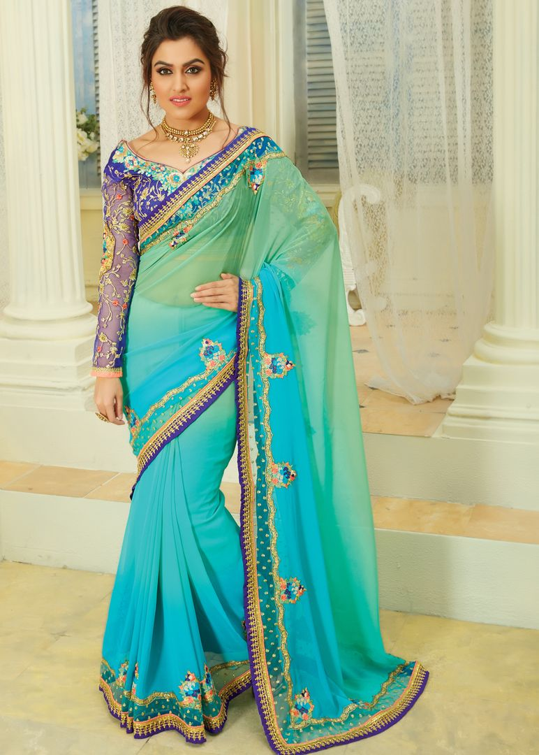 Aqua Blue Color Chiffon Designer Embroidered Sarees : Avnira Collection  NYF-2897 - YellowFashion.in