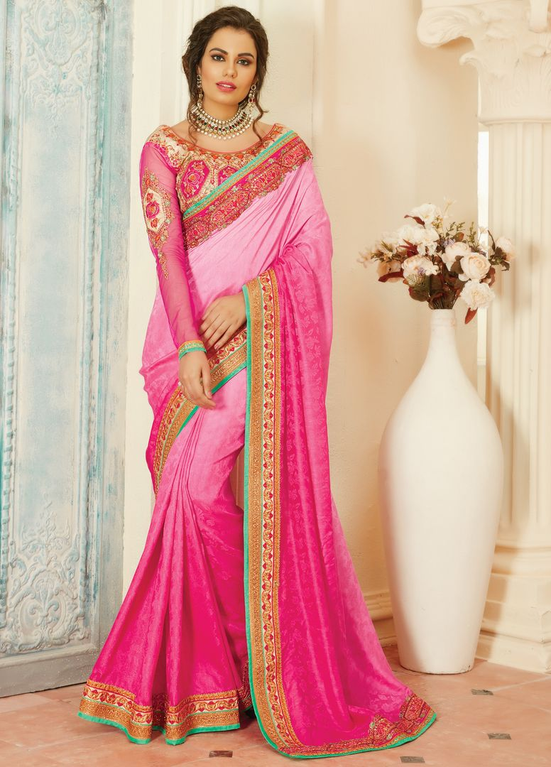 Light & Dark Pink Color Jacquard Crepe Designer Embroidered Sarees : Avnira Collection  NYF-2898 - YellowFashion.in