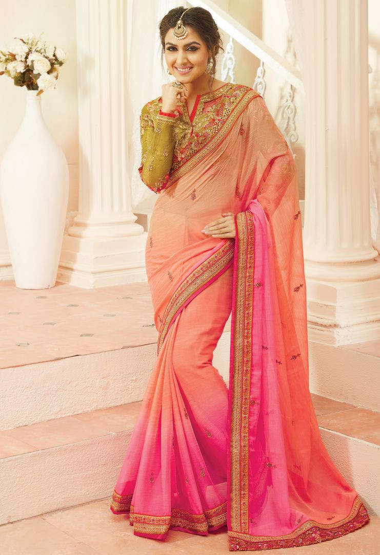 Peach & Pink Color Chiffon Designer Embroidered Sarees : Avnira Collection  NYF-2899 - YellowFashion.in