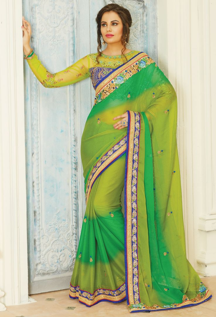 Green & Mehendi Green Color Chiffon Designer Embroidered Sarees : Avnira Collection  NYF-2900 - YellowFashion.in