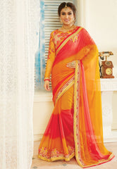Orange & Pink Color Chiffon Designer Embroidered Sarees : Avnira Collection  NYF-2901